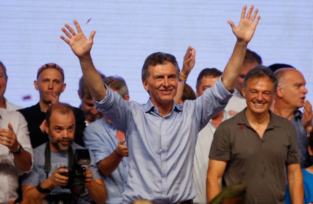 BUENOS AIRES, ARGENTINA - NOVEMBER 22: Mauricio Macri Presidential Candidate for Cambiemos celebrates after runoff elections at Cambiemos Bunker on November 22, 2015 in Buenos Aires, Argentina. (Photo by Gabriel Rossi/LatinContent/Getty Images)