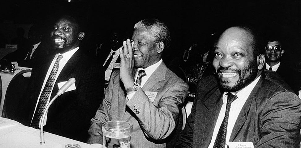Cyril Ramaphosa, Nelson Mandela and Jacob Zuma at Codesa in 1992. As the talks got down to details, the liberal view of limiting the authority of the president in a new South Africa found little favour among either ANC or Nat delegates, says the writer.  Image: SUNDAY TIMES