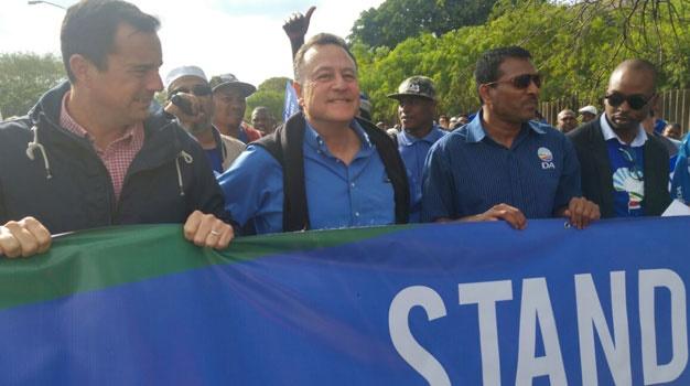 From left are John Steenhuisen, Tony Leon and Haniff Hoosen. (Kaveel Singh, News24)