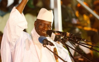 Gambia's President Yahya Jammeh, who is also a presidential candidate for the Alliance for Patriotic Re-orientation and Construction (APRC), smiles during a rally in Banjul, Gambia, November 29, 2016. REUTERS/Thierry Gouegnon - RTSTXDC