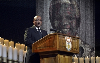 South Africa President Jacob Zuma speaks during the funeral ceremony for former South African President Nelson Mandela in Qunu December 15, 2013.   REUTERS/Odd Andersen/Pool (SOUTH AFRICA - Tags: SOCIETY OBITUARY POLITICS)