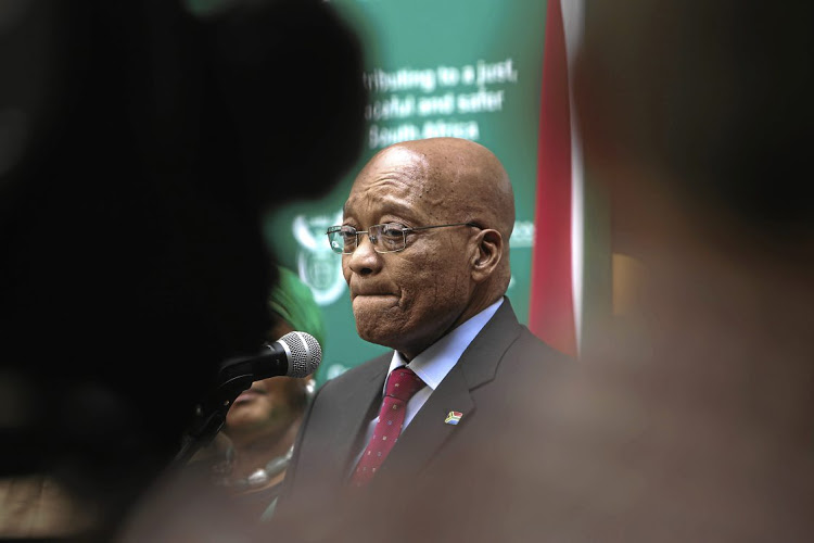 President Jacob Zuma talks to members of the media after laying a wreath marking the anniversary of the death of struggle activist Steve Biko at the Kgosi Mampuru prison in Pretoria. Biko died while in police custody on the 12 September 1977. Picture: Alaister Russell